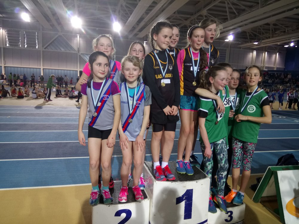 Girls U12 Relay Podium - Abbotstown Feb2017.JPG