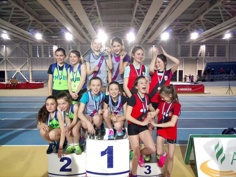 Girls U13 Relay Podium - Abbotstown Feb2017.JPG