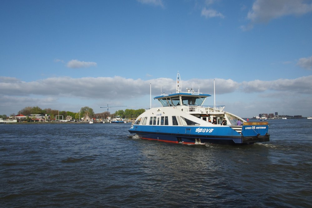 Ferry ride across the IJ River: stock photo taken from Google