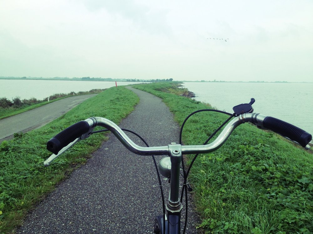 Bicycle paths have better views than the vehicular lanes due to the dijk elevation: photo by Arlen Stawasz