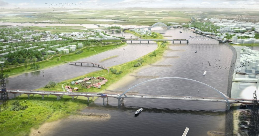 Rendering of the Making Room for the River Project of Nijmegen: stock photo taken from Google