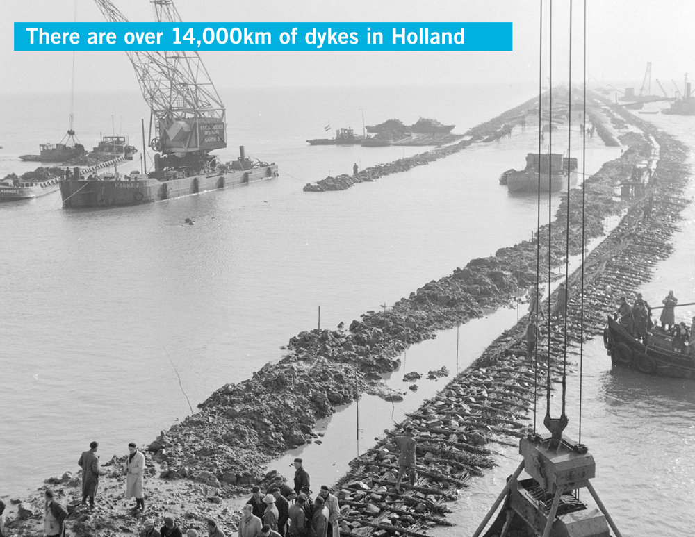 Historic photo of dijk construction in the Netherlands: graphics by Arlen Stawasz stock photo from Google