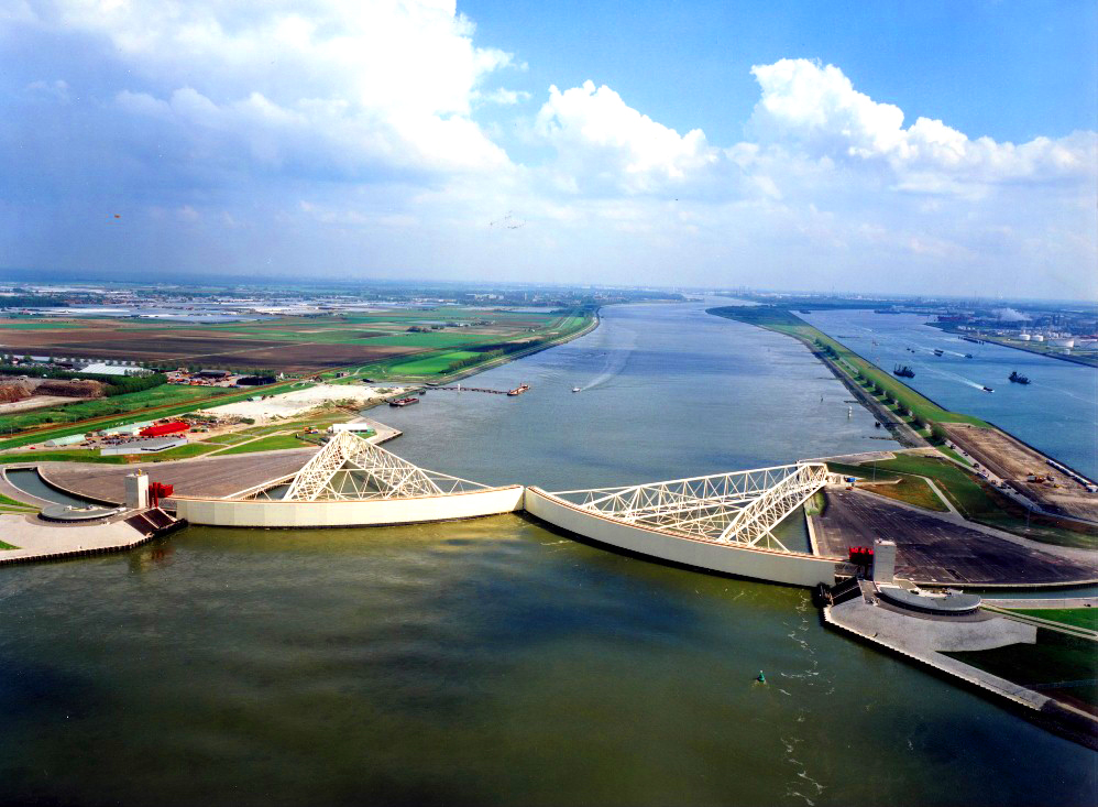 Maeslantkering Storm Surge Barrier Aerial Photograph: stock photo taken from Google
