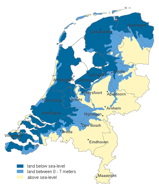 Map of the Netherlands displaying land below and above sea level: stock photo taken from Google