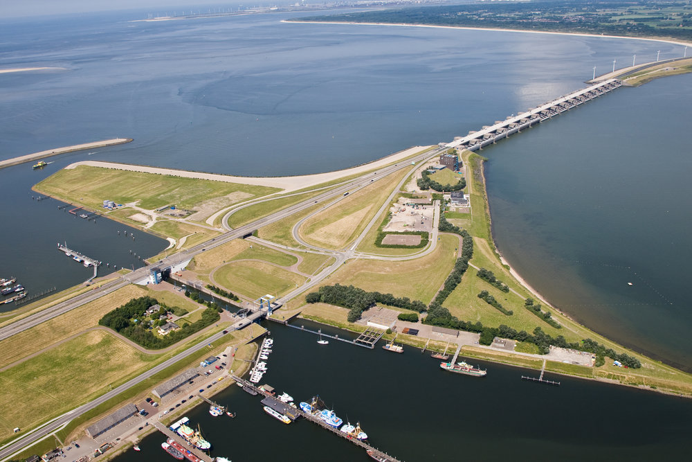 Aerial view of Haringvliet Dam: stock photo taken from Google