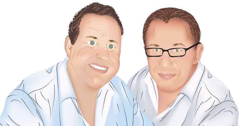 The Two Guys Foods Group iconic painting of Scott Stark and David Stoff, Friends and Co-Founders of Two Guys Jersey Tomato Sauce.