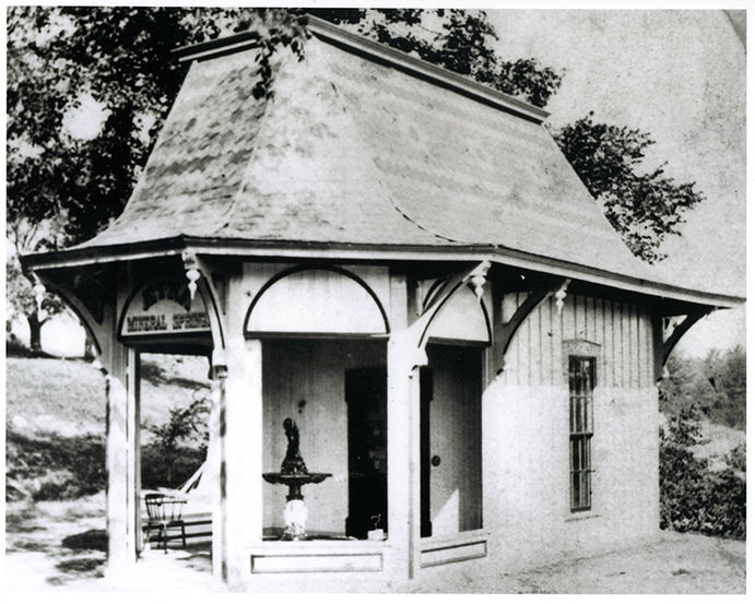The original Saratoga Springs House on the shores of Geyser Lake in Saratoga Springs, New York. Photo Taken in 1870's.