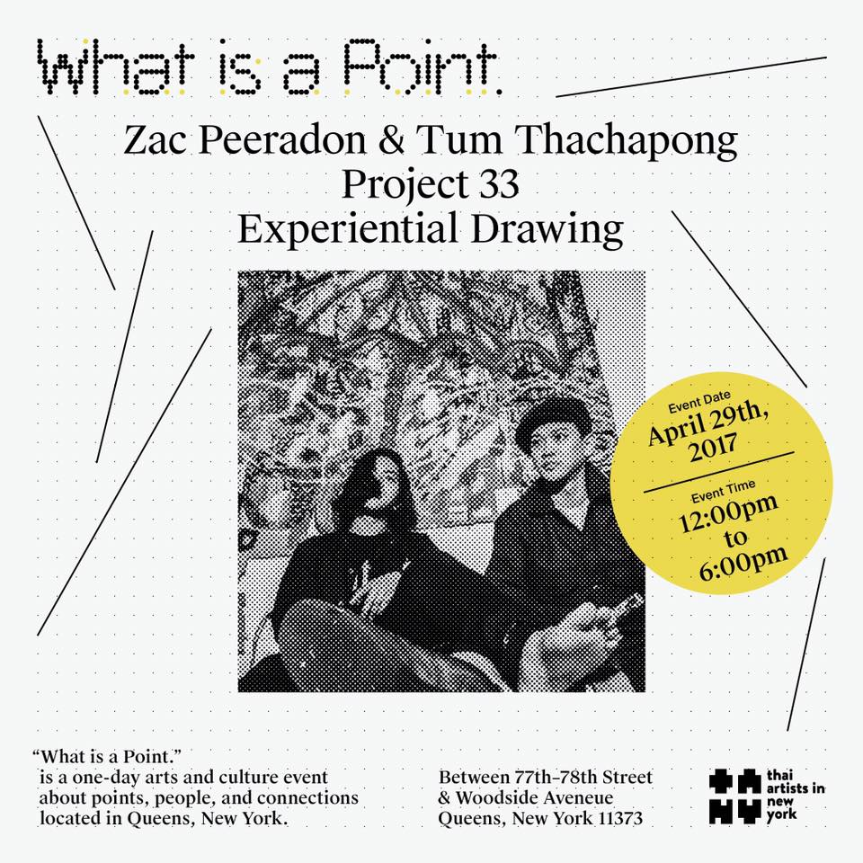 Project 33 By Zac Peeradon & Tum Thachphong โปรเจค 33 คือการสร้างสรรค์ผลงานศิลปะในสถานการณ์และสิ่งแวดล้อมที่เกิดขึ้น ณ ขณะนั้น กระบวนการสร้างผลงานแบบปัจจุบันทันด่วน เหมือนการสังสรรค์ แลกเปลี่ยนสนทนาเพื่อสร้างมิตรภาพระหว่างบุคคล Project 33 is a situationist project that positions the artists to react against the immediate psychological and physical environment. Naturally, the work revolves around the simultaneity of human communication.