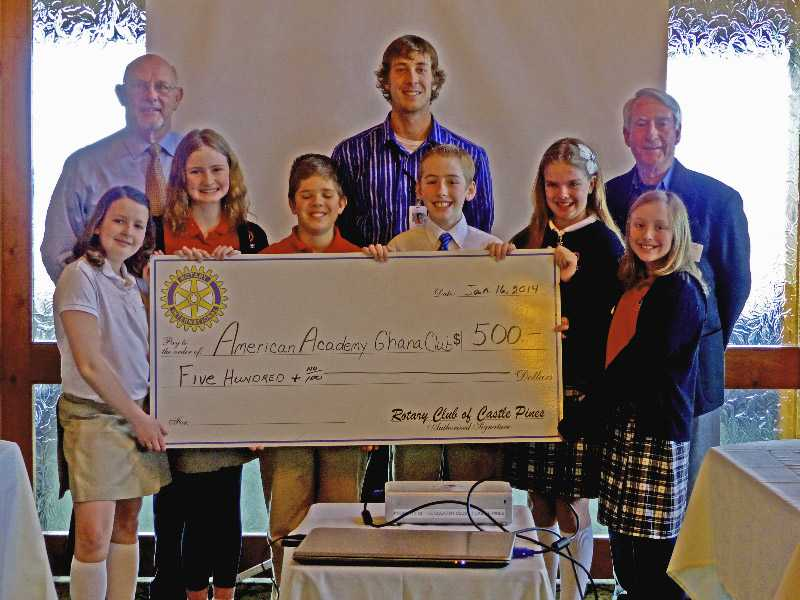Donation given by the Castle Pines Rotary Club to the Ghana Charity Club I created at American Academy.