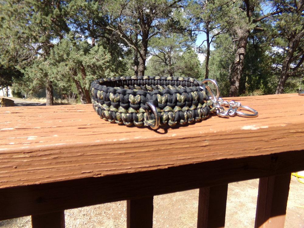 Dog collar with half check chain.