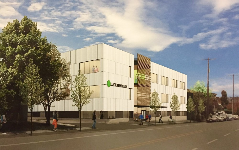 A rendering of the new Green Dot Middle School seen looking south on Rainier Ave. in Seattle.