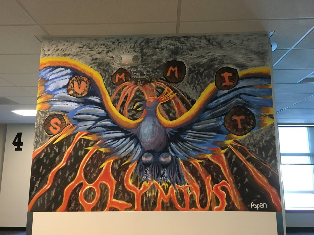 This mural inside Summit Olympus, a charter school in Tacoma, was painted by a student.
