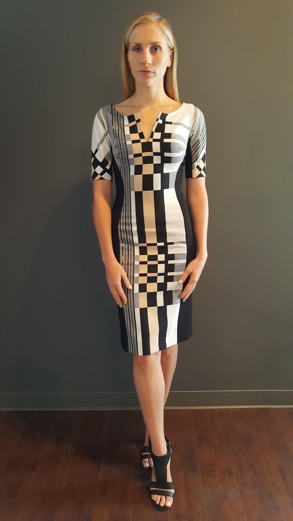 Geometric Plaid Side Panel Dress