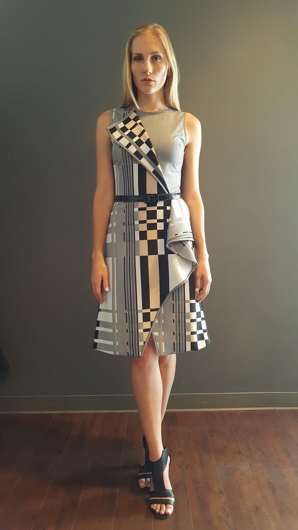Geometric Plaid Fold-Over Dress