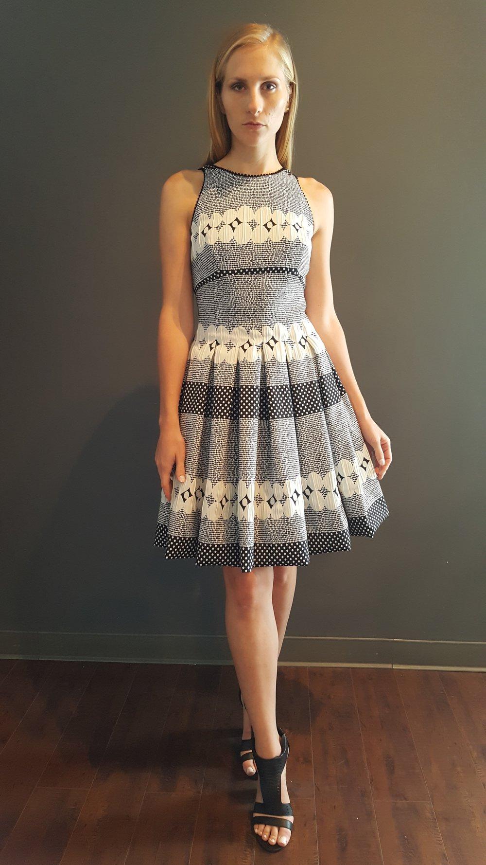 Stripe Dot Tucked Dirndl Dress