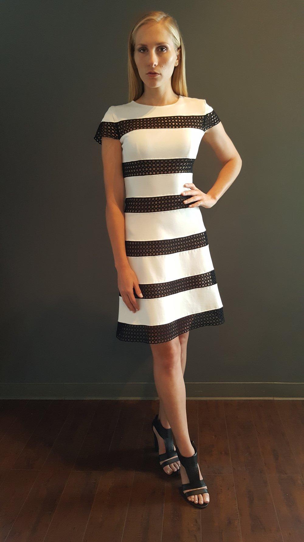 Circular Lace Stripe Dress