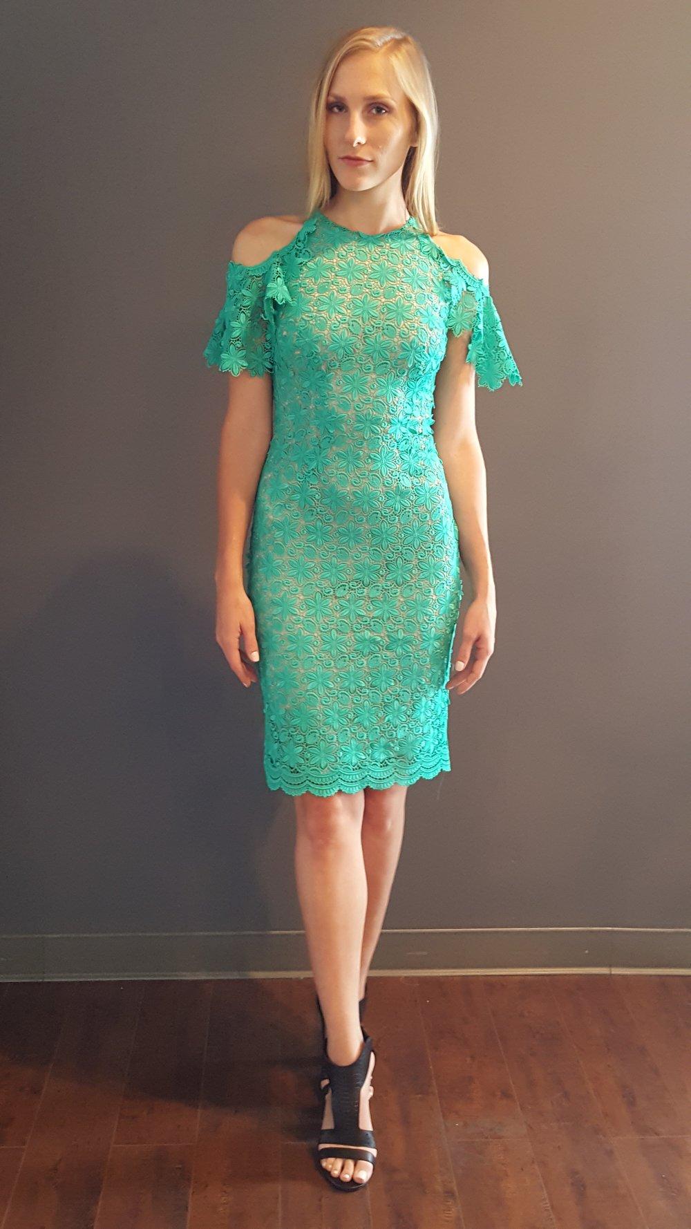 Guipere Lace Cold Shoulder Dress