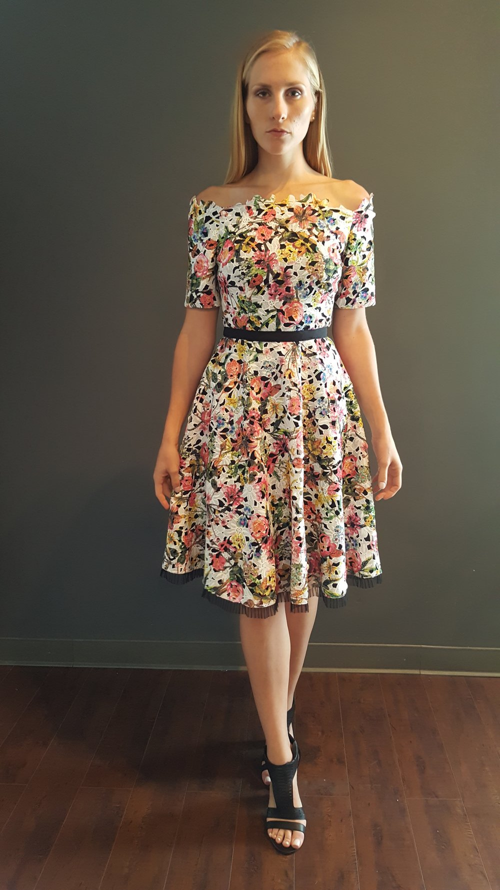 Floral Off-Shoulder A-Line Dress