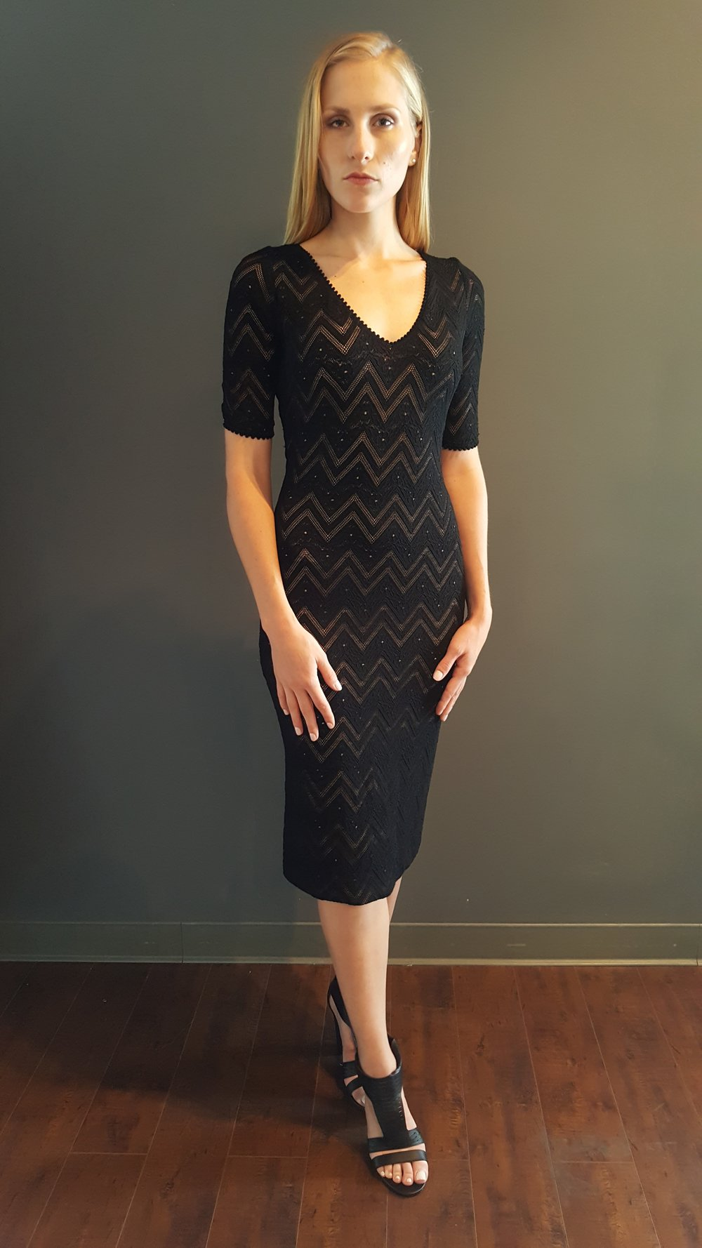 V-Neck Chevron Knit Dress
