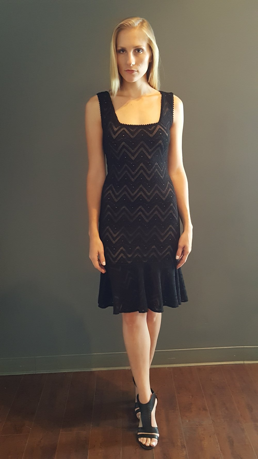 Square-Neck Chevron Knit Dress