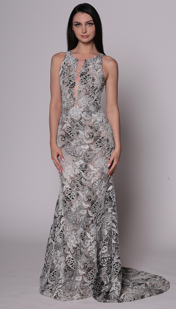 Lace Plunge Racer Gown