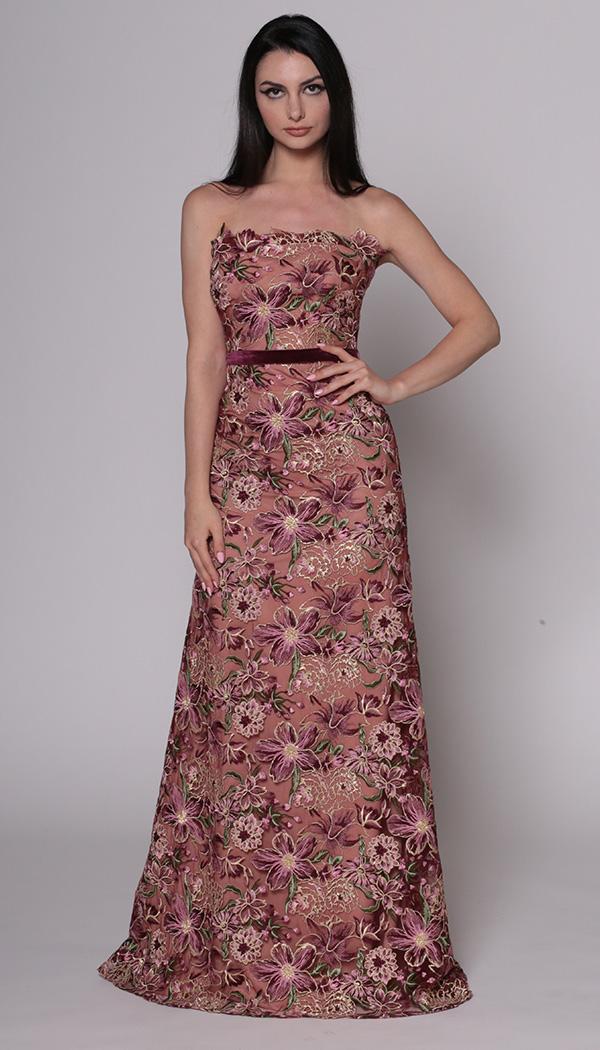 Floral Lace Column Bustier Gown