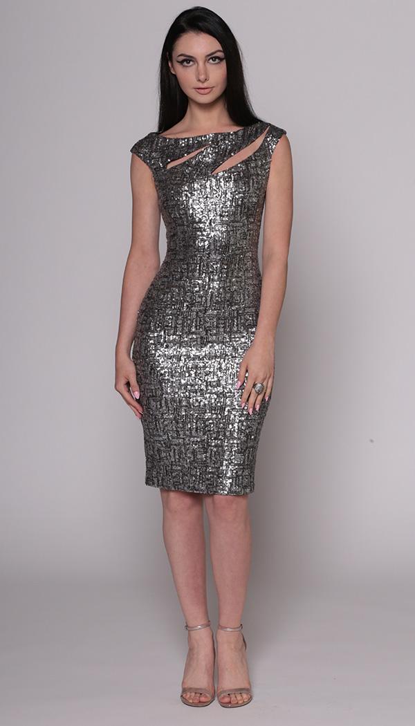 Tweed Sequin Slash Dress