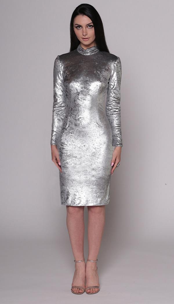 Metallic Velvet Turtleneck Dress