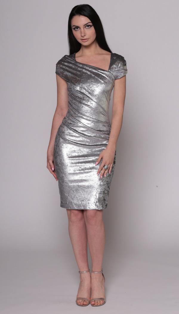 Asymmetrical Metallic Velvet Dress