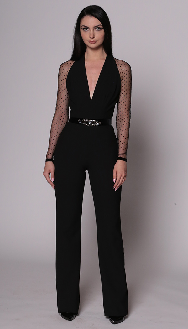 Jumpsuit with Point d'esprit Sleeves