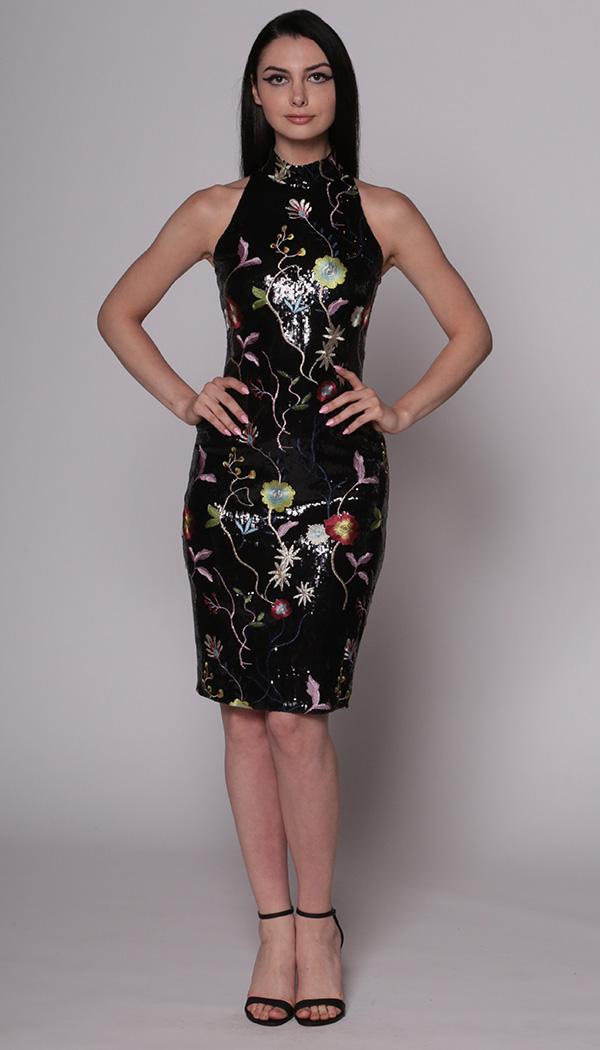Sequin Floral Embroidered Turtleneck Dress