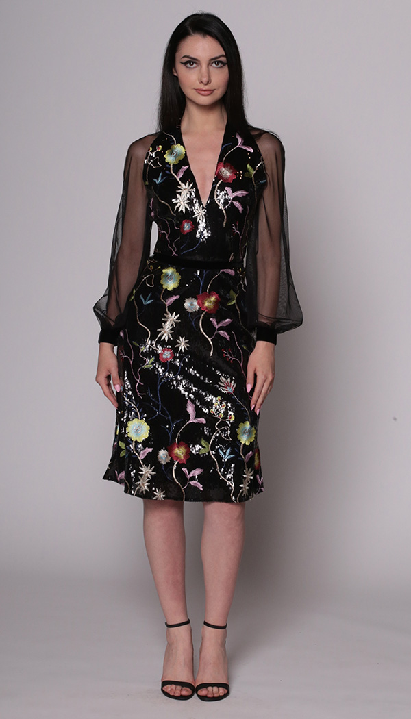 Sequin Floral Embroidered Flippy Dress