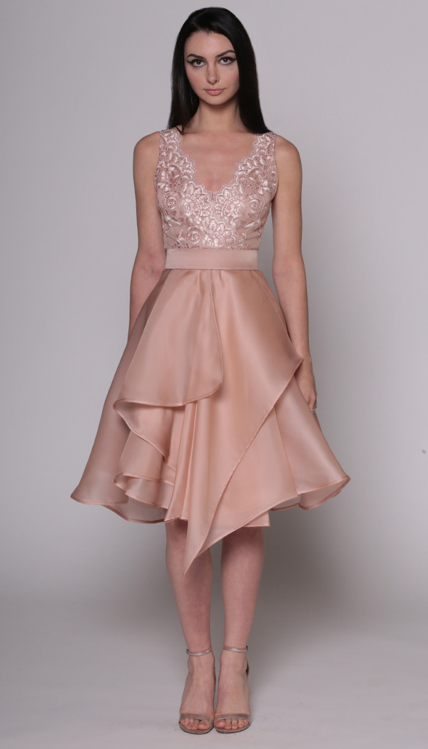 Lace Bodice Origami Cocktail Dress