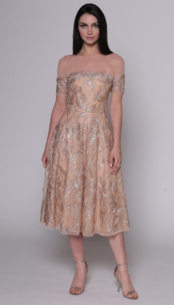 Metallic Sequin Tulle Illusion Shoulder Dress