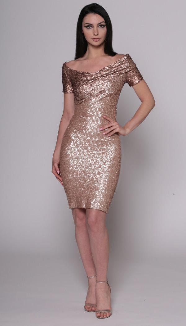Off-the-Shoulder Dress Dégradé Sequin