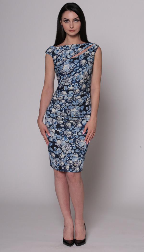 Jewel Print Slash Dress