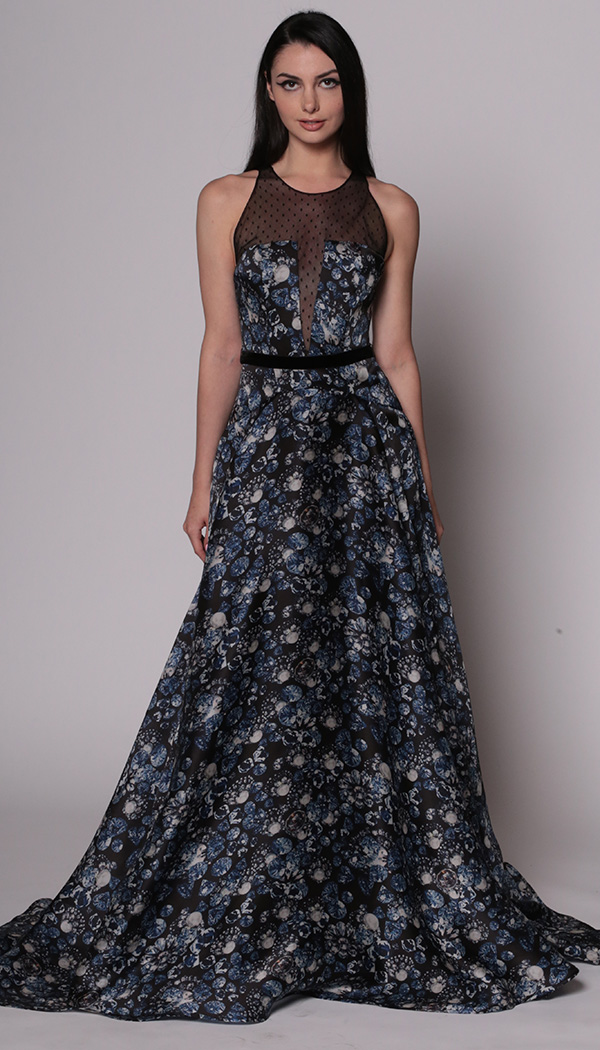 Jewel Print Gown with Point d'esprit Inset
