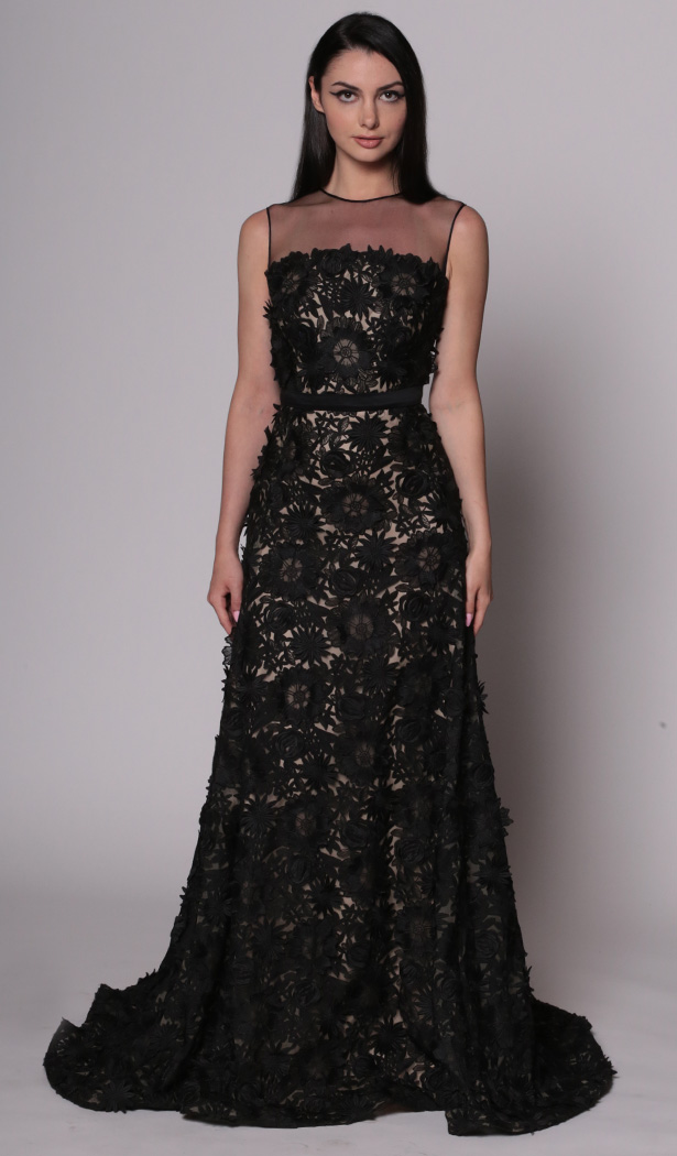 Guipere Floral Lace Gown