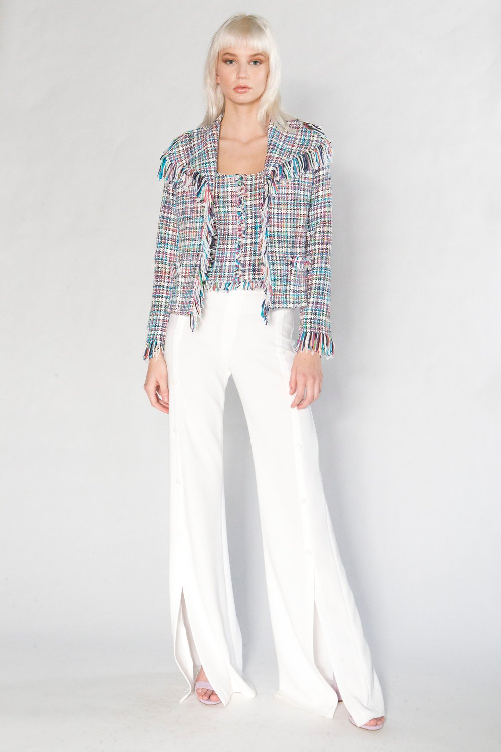 Summer Tweed Fringe Jacket, Summer Tweed Camisole, and Split Pant w/Buttons