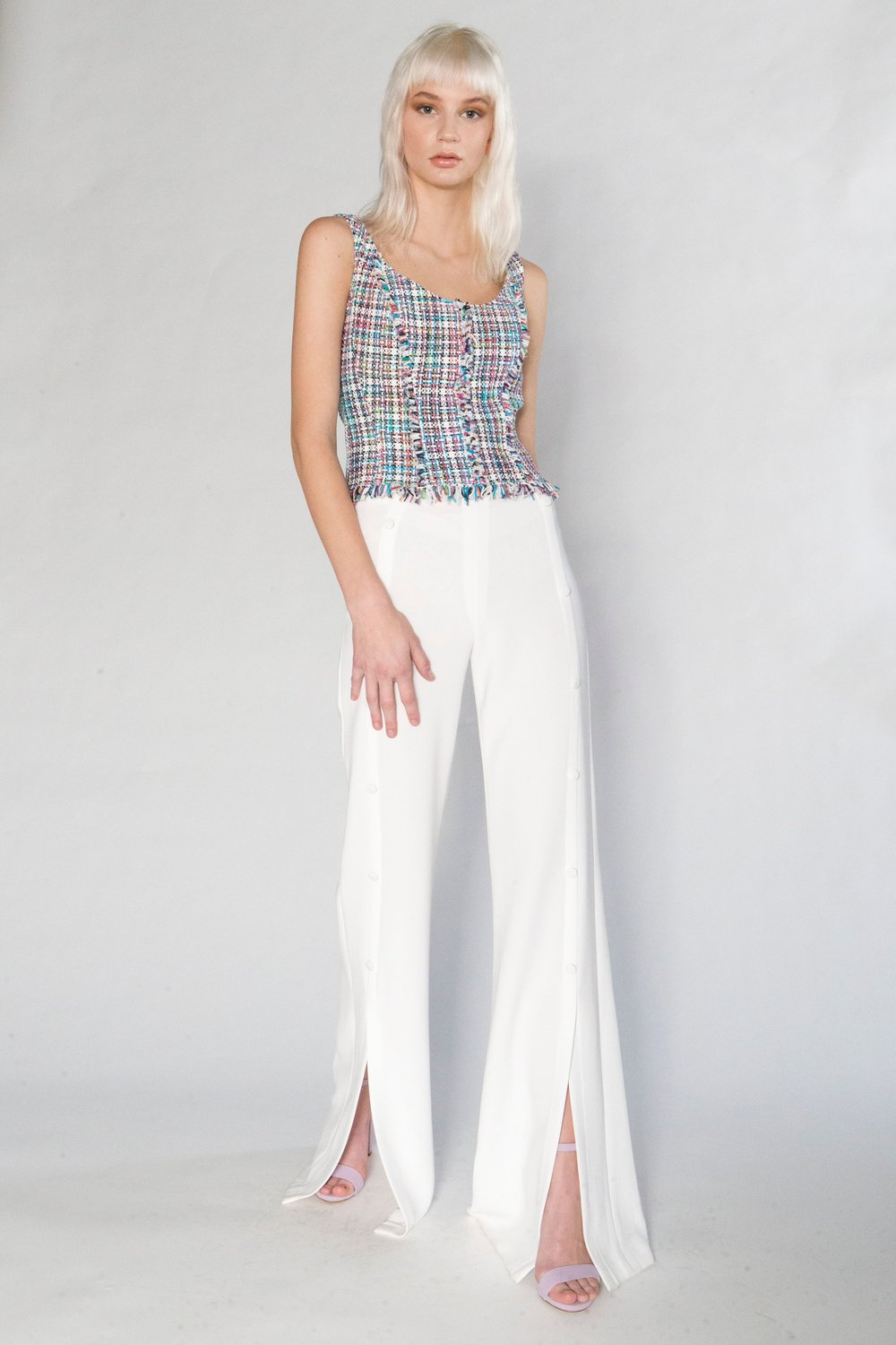 Summer Tweed Camisole and Split Pant w/Buttons, stretch crepe
