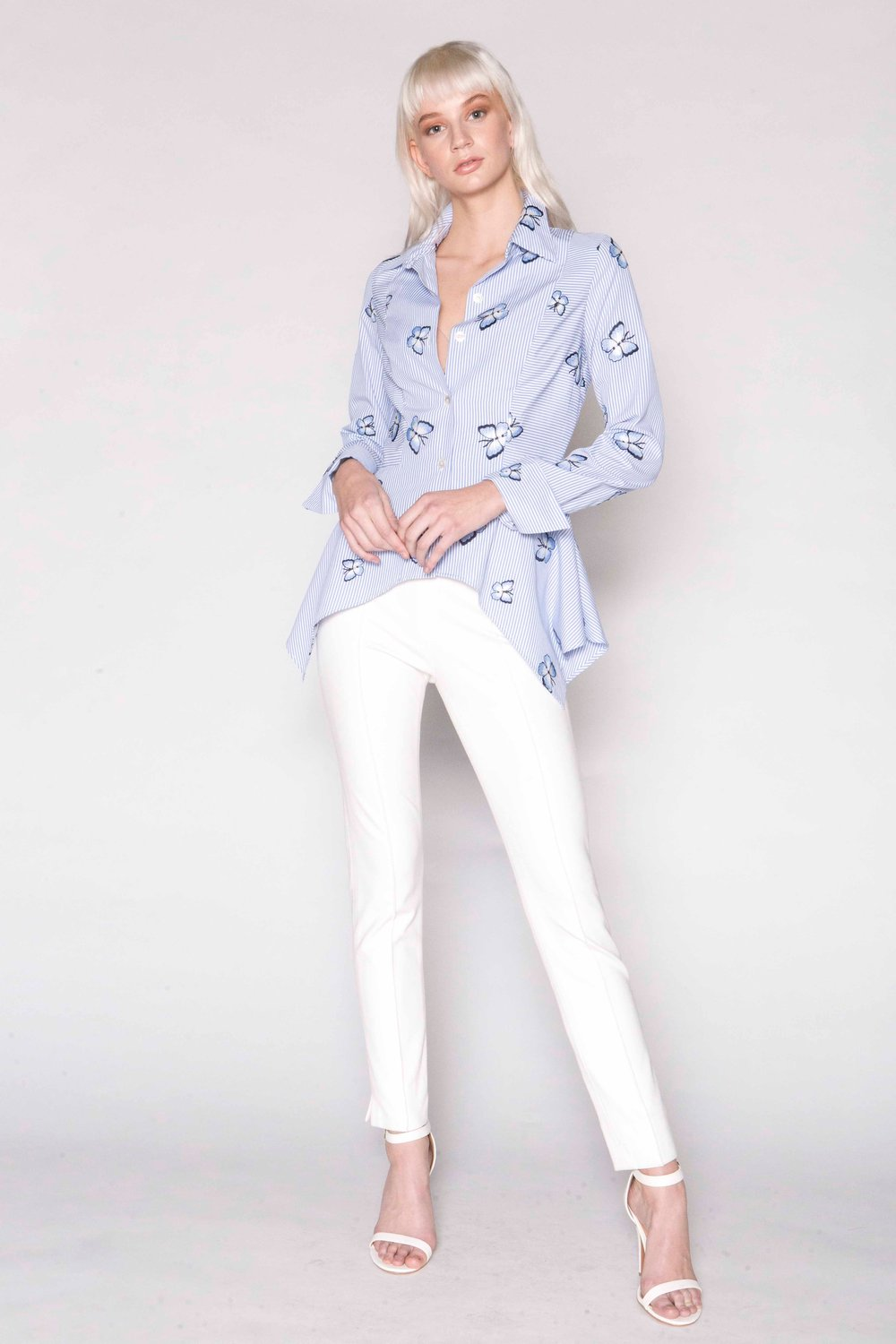 Butterfly Stripe Hanky Blouse and ponte jersey