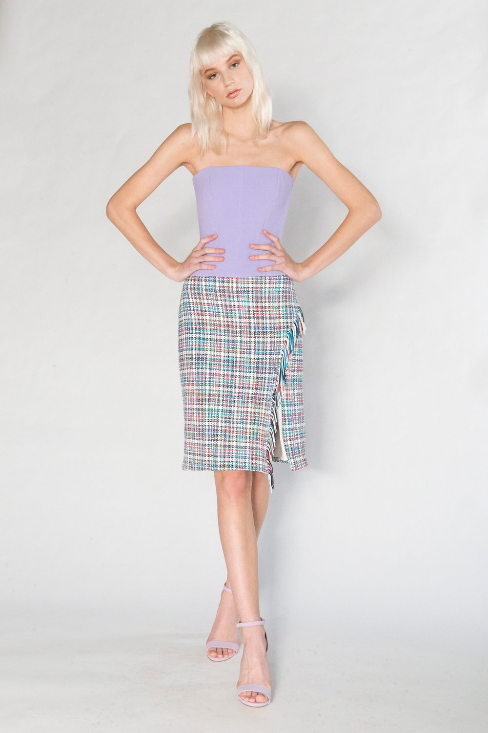 Solid Bustier Top and Summer Tweed Fringe Wrap Skirt