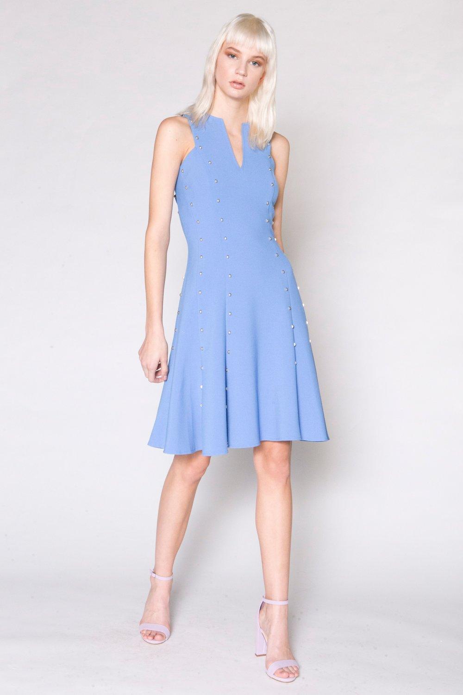 Jersey Gored Dress w/ Nailheads, periwinkle