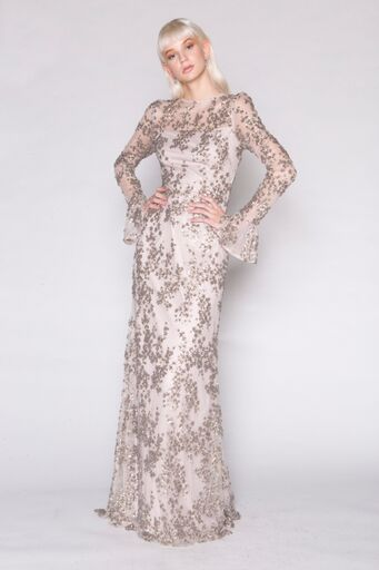 Gunmetal Blossom Sequin Gown