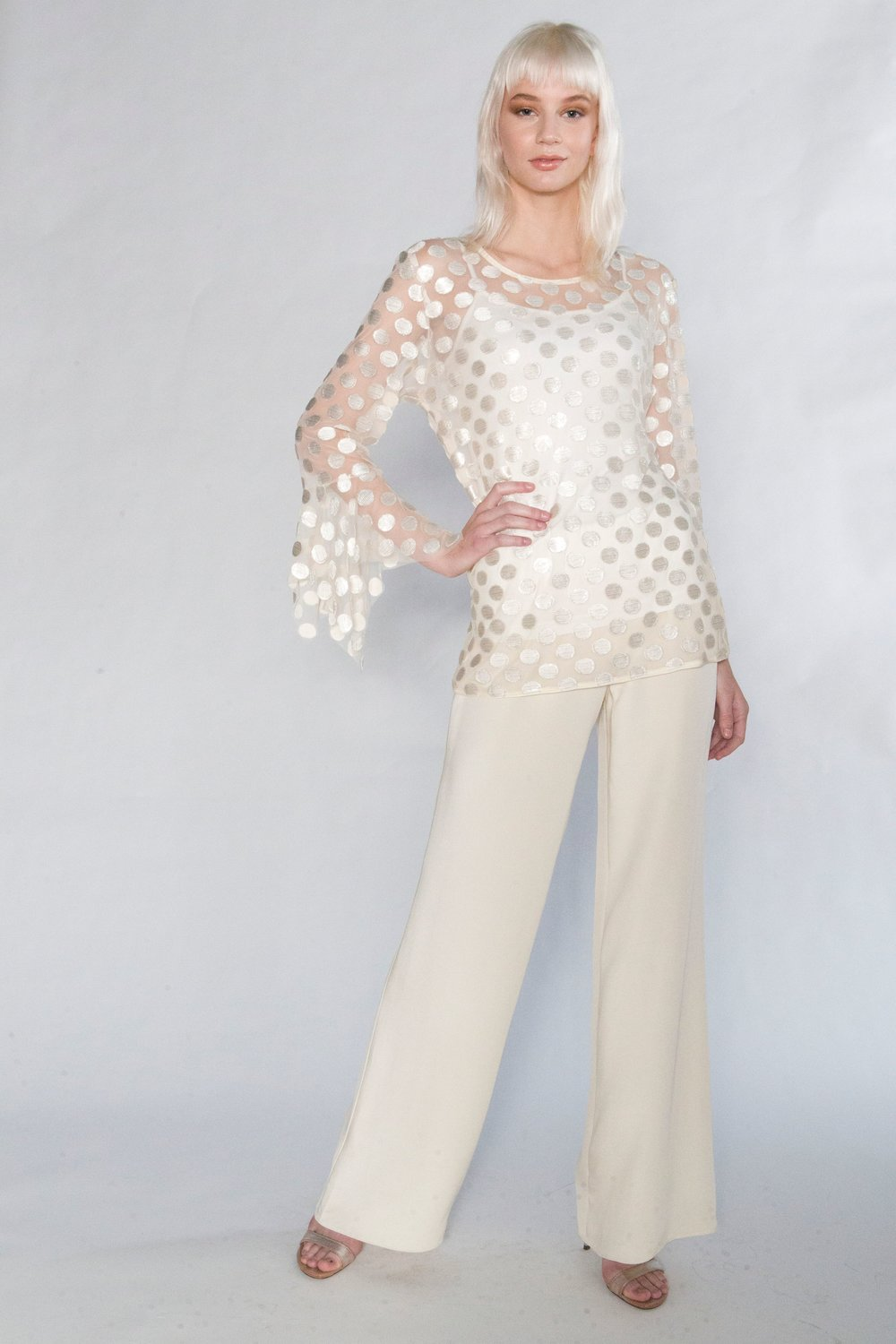 Dotted Hanky Blouse and Piped Silk Pant