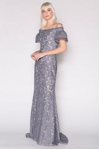 Lace Off-Shoulder Gown w/Puff Sleeve Top, ivory