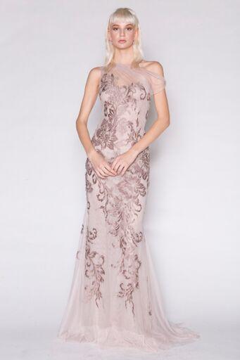 1-Shoulder Baroque tulle gown