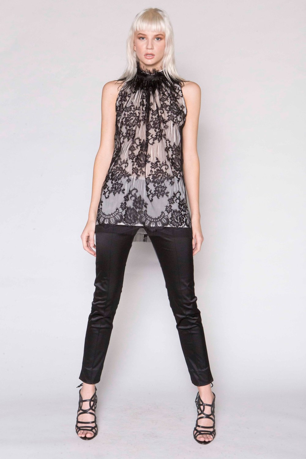 Slash Lace Racer Top w/Feathers and Satin Capri