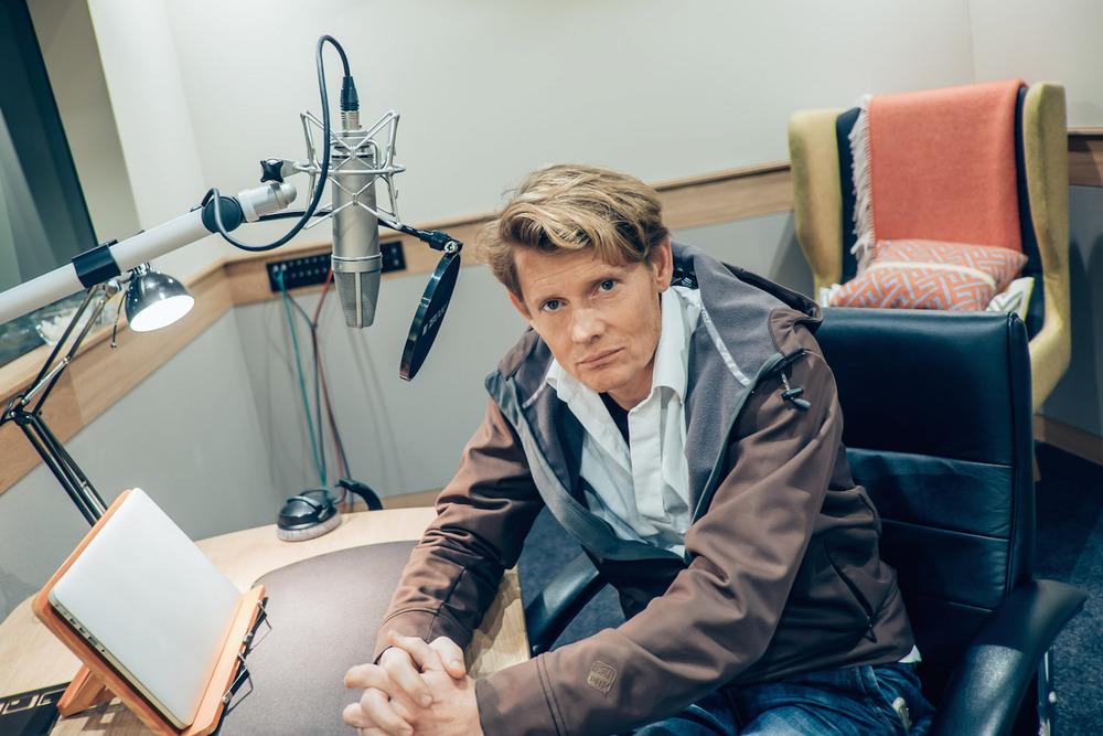 Julian Rhind-Tutt at Audible studios.