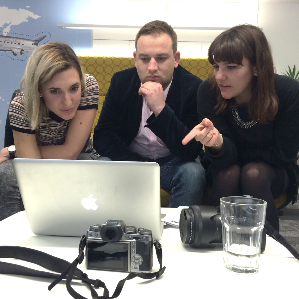Selecting images with the team at Audible.